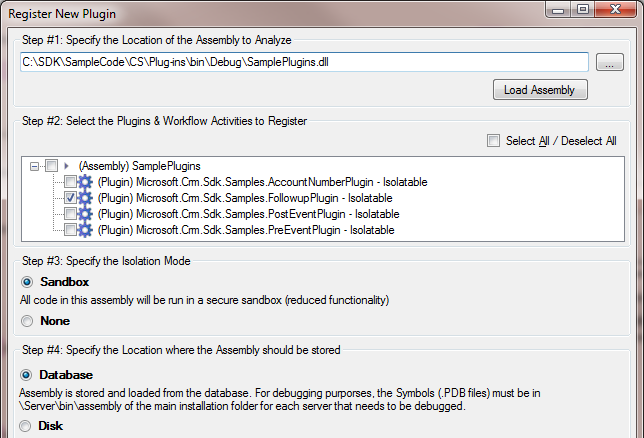 Register New Assembly dialog
